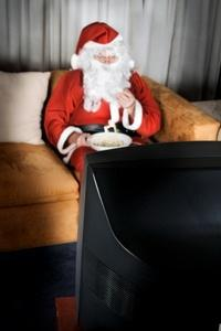 Santa watching a movie