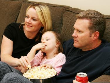family watching movie