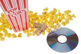 dvd and popcorn