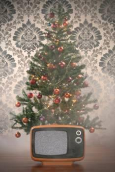 Christmas tree and TV