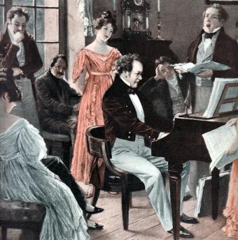 Franz Schubert playing for friends