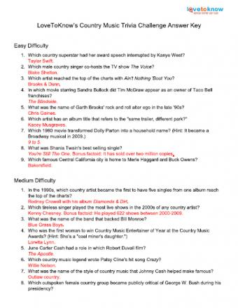 Click to print trivia answers.