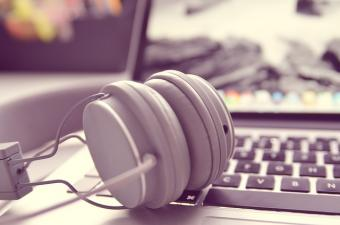 Headphones on a computer