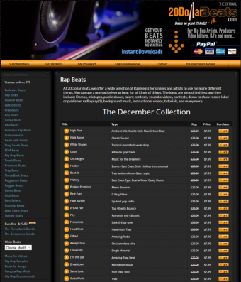 screenshot Rap beats on 20DollarBeats.com