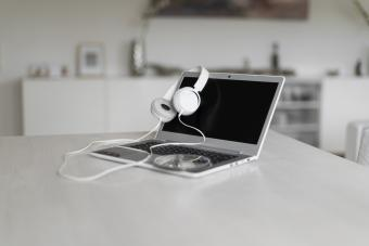 headphones and CD on tabletop
