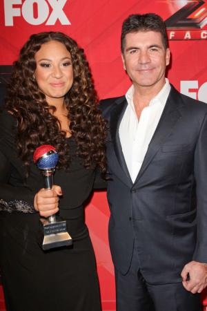 Simon Cowell and Melanie Amaro at X-Factor season finale