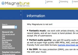 Screenshot of Magnatune website