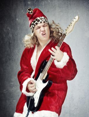 Funny Santa Playing Guitar