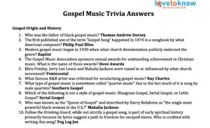 gospel music trivia answers