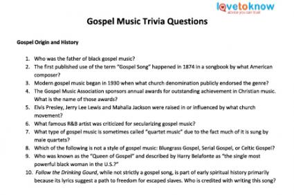 gospel music trivia questions