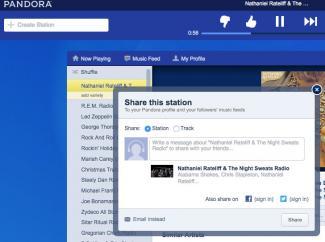 Screenshot of sharing music on Pandora.com