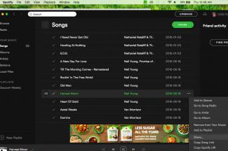 Screenshot of Spotify sharing on Mac computer