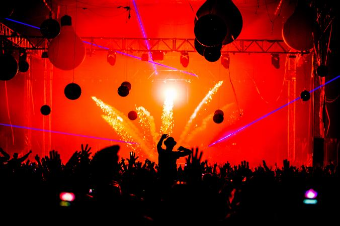 pyrotechnics display on music festival stage