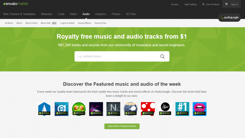 Audio Jungle homepage screenshot