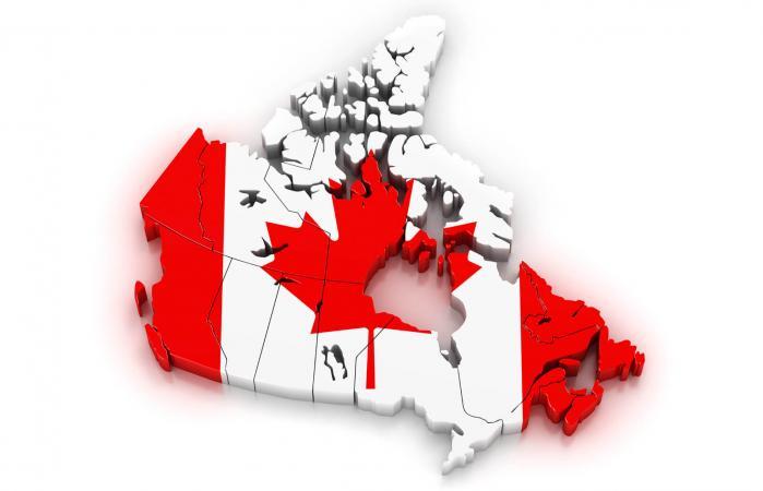 Mapa y bandera de Canadá