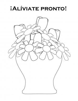 Tarjeta con jarrón con flores de alíviate pronto