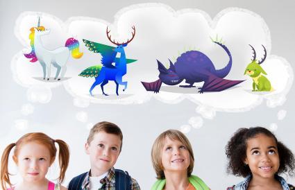 Niños imaginando mascotas míticas