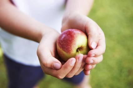 Niño aguantando una manzana en la mano