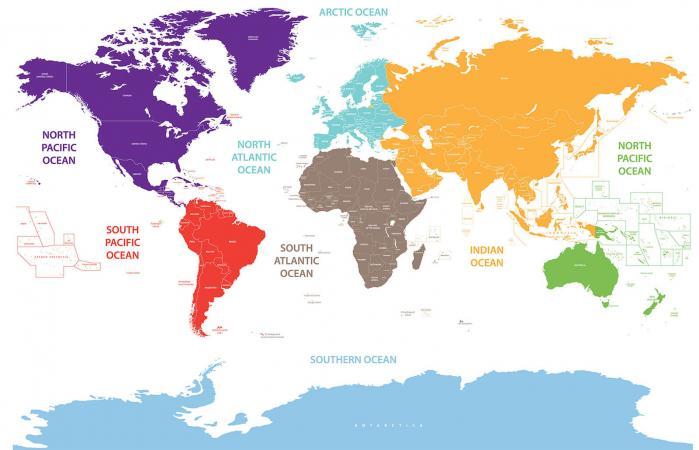 Los océanos del mundo en el mapa