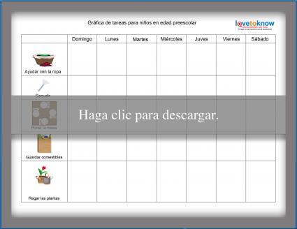 Gráfica de tareas para niños en edad preescolar