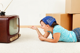 woman watching cartoons