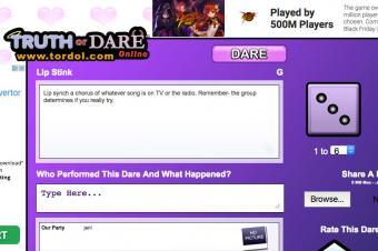 Screenshot of tordol.com Truth or Dare Game
