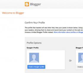 Blogger setup page