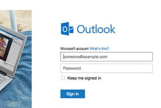 Screenshot of sign in page at Outlook.com