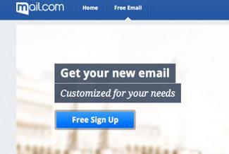 Screenshot of signup page at mail.com
