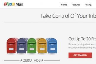 Screenshot of Zoho Mail signup page