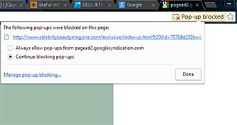 Chrome pop up blocker