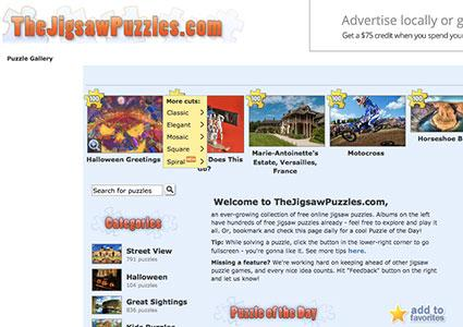 Screenshot of TheJigsawPuzzles.com homepage