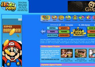 Screenshot of thekidzpage.com/onlinejigsawpuzzles/index.htm