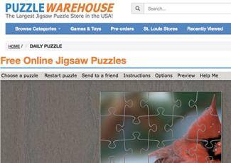 Screenshot of PuzzleWarehouse.com daily puzzle page