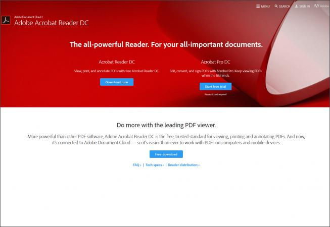 Screenshot of Adobe Reader