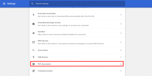 Google Chrome PDF settings
