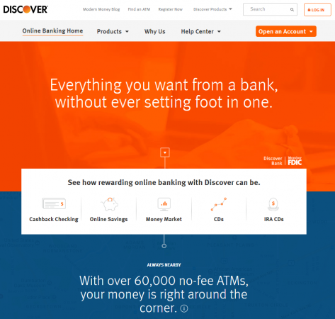 Discover Bank homepage screenshot