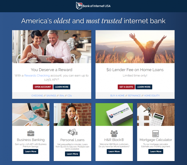 Bank of Internet USA homepage