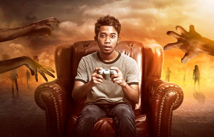 Gamer Playing Zombie Games