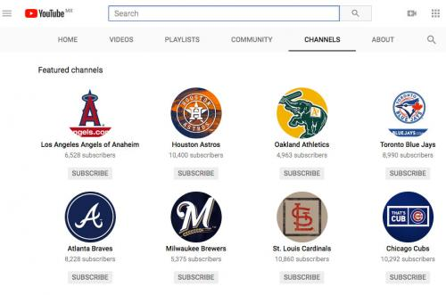 Screenshot of YouTube Baseball Channels