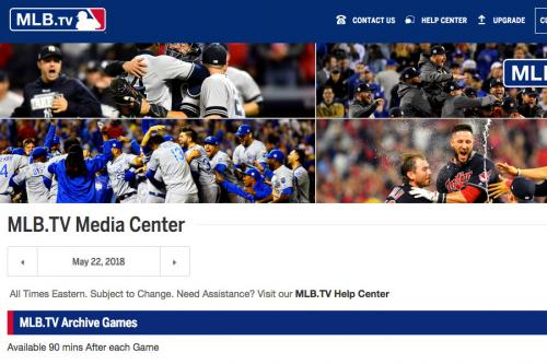 MLB.TV Live Baseball Stream Archive