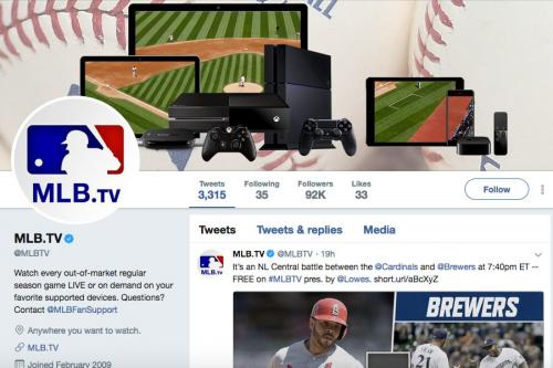 Screenshot of MLB.TV Twitter Page
