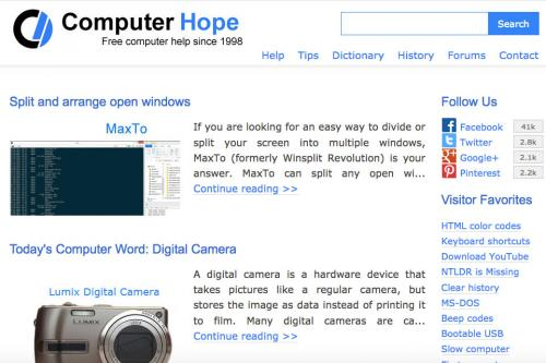Screenshot of Computer Hope website page
