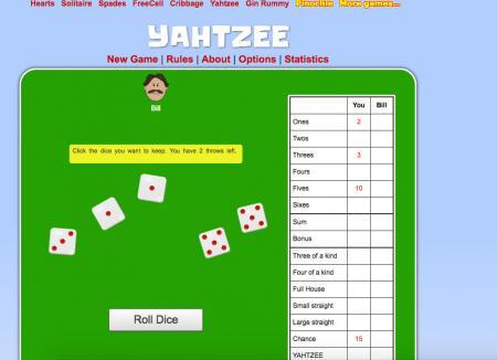 Online Yahtzee game