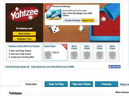 Screenshot of Yahtzee game at pogo.com