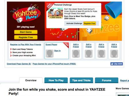 Screenshot of Yahtzee Party game