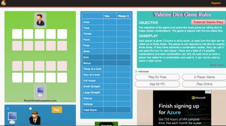 Yahtzee dice game at playonlinedicegames.com