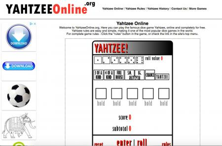 Screenshot of Yahtzee game at yahtzeeonline.org