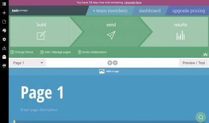 Dashboard creating a survey on KwikSurveys