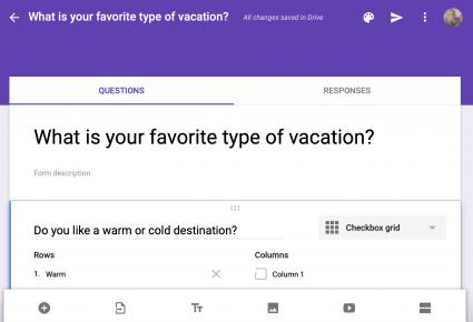 Screenshot of creating a survey on Google Forms